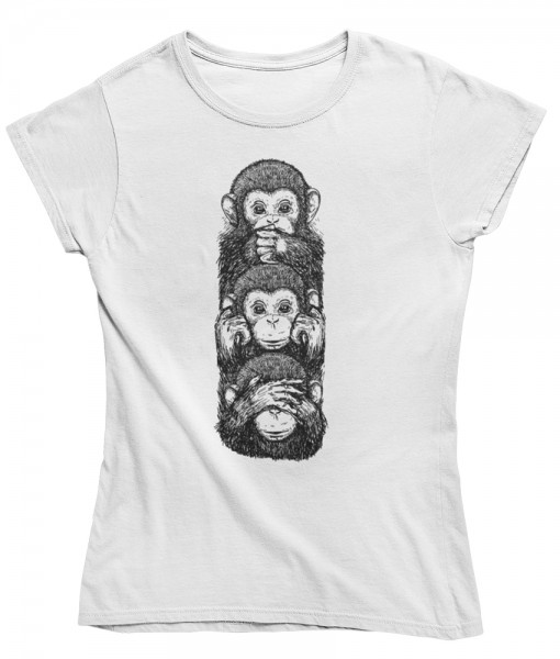 "Damen T Shirt ""three wise monkeys"""