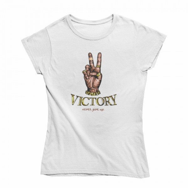 Damen T Shirt -Victory never give up
