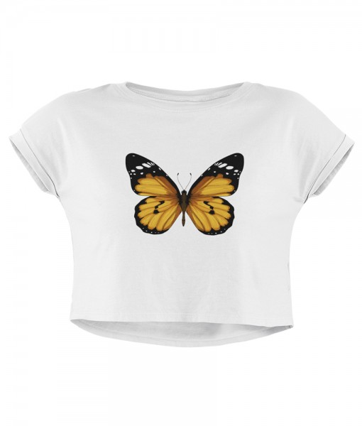 "Damen Crop ""Yellow butterfly""in weis"