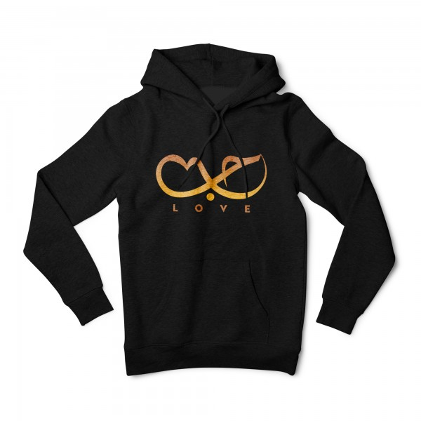 "Herren Hoodie ""Love Calligraphy Orange"""