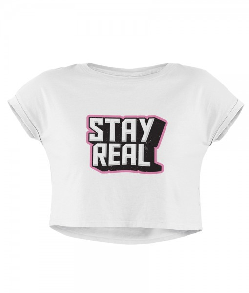 "Damen Crop ""Stay real"""