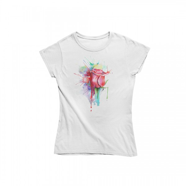 Damen T Shirt -Painted rose pink